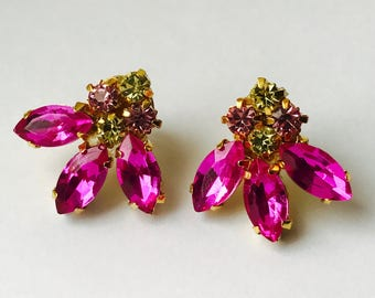 Pink and Gold Rhinestone Earrings