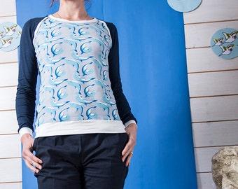 "BIO mix Longsleeve shirt Kinga - ""Dolphin - navy"