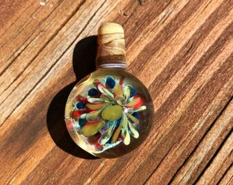 Multi Colored Flower Implosion Necklace Pendant