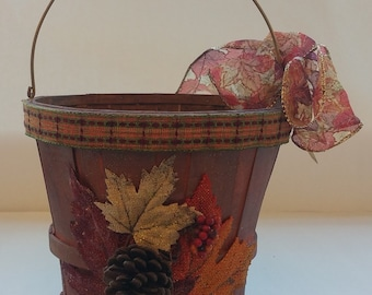"Fall Wooden Gift or Planter Bucket ""PUMPKIN BROWN"""
