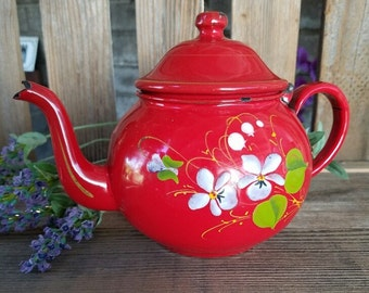 Teapot - Vintage Red Enamel with Hand Painted Violets