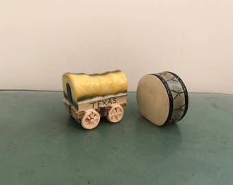 Vintage Texas Salt and Pepper Shakers Covered Wagon and Drum