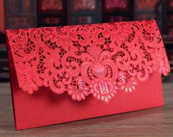 6 Floral Pattern Chinese Money Envelopes (Horizontal)