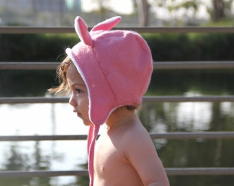 Toddler hat, Baby hat for girls, Baby hat, Baby Bonnet, Baby girl winter hat, Pink hat, Pink bonnet, Rabbit hat, Animal Ear Hat, Baby gift