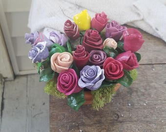 Clay flower sculpture