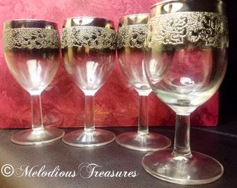 Vintage Embossed Silver Ombre Port Wine Glasses - 'Madmen' Dorothy Thorpe Style Glassware - Lustreware Glass
