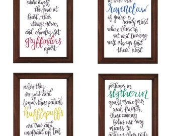 Set of Four Hogwarts Houses Printables | Gryffindor Hufflepuff Ravenclaw Slytherin | Harry Potter Printables | Sorting Hat Printable