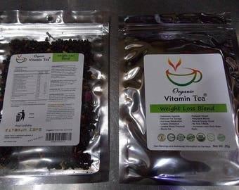 Organic Vitamin Weight Loss Tea Blend Supplement with Forskolin Garcinia Cambogia Raspberry Ketone Green Coffee Bean Guarana by Vitamin.Cafe