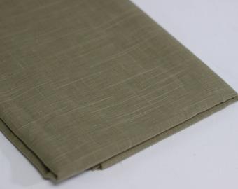 Olive Green Slub Cotton Fabric Remnant
