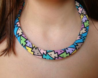Fishes crochet necklace Multicolor summer necklace Fish jewelry Statement necklace Holiday gifts Unique necklace Sea jewelry Gift for women