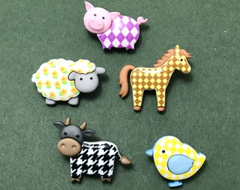 Funky Farm Novelty Buttons - Farmyard Animals - Cow - Pig - Sheep - Pony - Chick - Patchwork Embellishments - Scrapbooking - Card Making