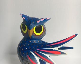 Pink owl hand made Alebrijes