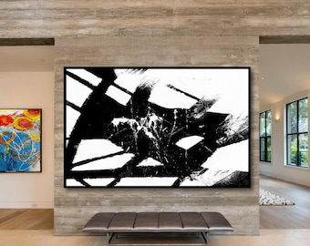 Large Handmade Horizontal Abstract Acrylic Painting on Canvas. Hand Painted Modern Contemporary Art. Black and White Painting.