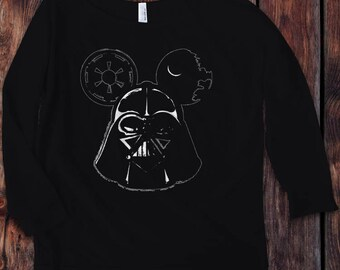 Darth Vader Mickey Mouse Star Wars and Disney Inspired 3/4 Sleeve Off the Shoulder Raglan Women's - Ink Printed