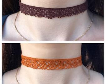 Brown or Orange Crochet Choker Necklace