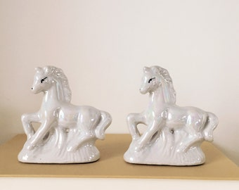 Vintage ceramic unicorns, irredescent unicorns, set of unicorns, vintage unicorns, set of two unicorns