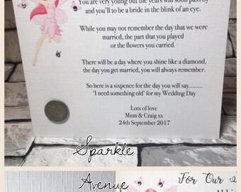 Flowergirl Keepsake Card with Sixpence