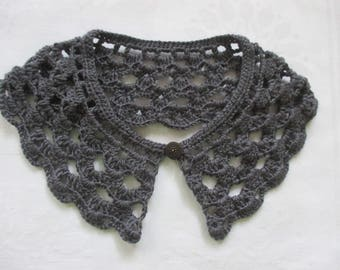 Crochet collar lace Peter Pan collar collar dark gray Microfiber crocheted selfmade