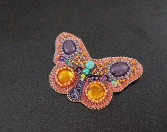 Handmade beaded brooch butterfly