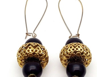 Gold and Black Adorned Drop Earrings Vintage Hearts Beads Dangle from the 90s Grunge Fancy Special Dress up Extra long Hooks Bauble Ornament