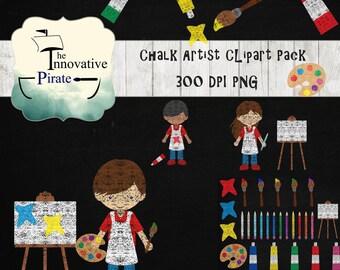 Chalk Artist Clipart  Pack - Chalkboard artists clip art - chalk school clipart - chalk teacher clipart - art class - craft clipart -