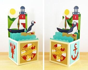 Mother's Day Pop Up Card, Coastal Lighthouse Pop Up Card, Mother's Day Card, Puffin & Lobster Card, 3D Pop Up Box Card, Custom, CardBloom