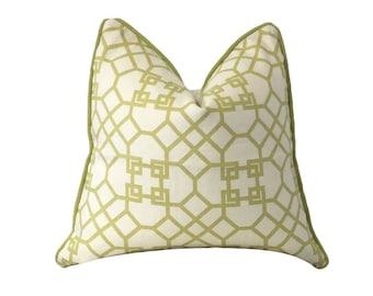 Lime Green Pillow, Windsor Smith, Archipelagos Lime, White Pillow,Trellis Pillow, Throw Pillow, Decorative Pillow, Sofa Pillow,Pillow Cover