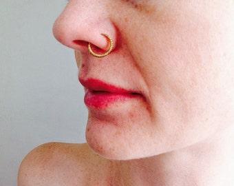 Fulani Gold Hoop Nose Ring.  African