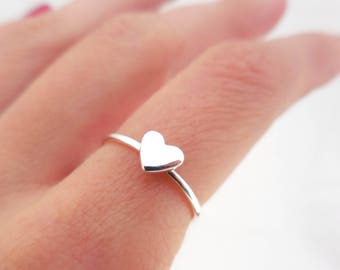 925 Sterling Silver Heart Stacking Ring, Silver Heart Ring, Heart Ring, Minimalist Ring, Stacking Ring, Rings for Her, Silver Layer Ring