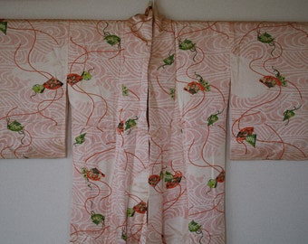 Authentic vintage silk kimono - dainty red spots with fan pattern