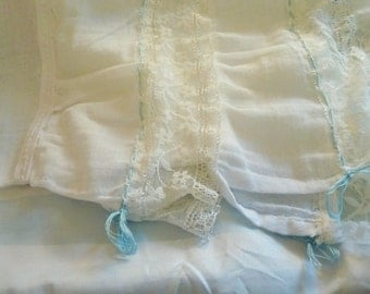 Delicate lace gauze pillowshams w lt blue drawstring