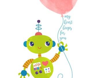 Wall Art Print - Robot with Heart Balloon - Nursery Decor