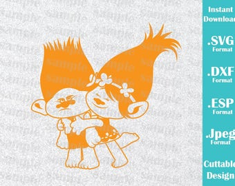 INSTANT DOWNLOAD Svg Trolls Princess Poppy and Branch Movie Inspired Birthday Cutting Machines Svg, Esp, Dxf, Jpeg Format Cricut Silhouette