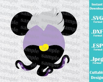 INSTANT DOWNLOAD SVG Disney Villains Inspired Ursula Mickey Ears Cutting Machines Svg, Esp, Dxf and Jpeg Format Cricut Silhouette