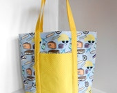 Beach bag handmade tote winter sun accessories holiday bag yellow and blue handbag gift for mum mothers day present washable handbag
