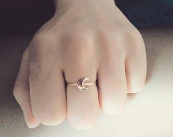 ROSE GOLD Crescent Moon ring goddess wicca magic