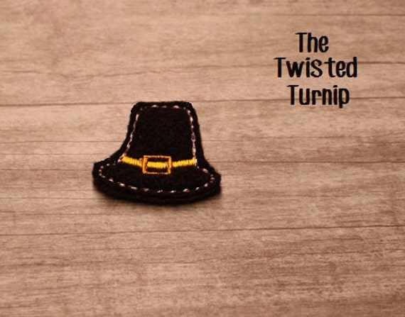 5x7 Hoop Cute Fall Thanksgiving Turkey Day Pilgrim Hat Felty Feltie Felt Embroidery Design Instant Download