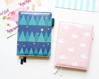 Midnight Forest, Pink Dove | A6 Hobonichi Planner Cover
