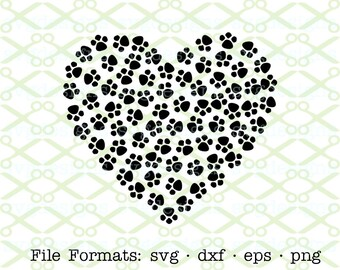 HEART SVG, Dxf, Eps & Png. Paw Print Svg, Paw Print Heart, Digital Cut Files for Cricut, Silhouette; Valentine Svg File, Heart Silhouette