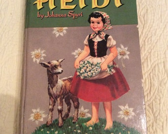 Heidi-book-Johanna Spyri-Whitman Publishing Co-1955-vintage-antique-reading-children's book-story-storytime-library