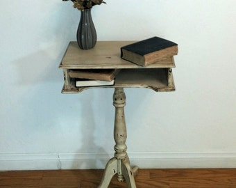SOLD.  Small,  rustic,  hand painted, accent, side table.