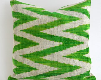 Handwoven Velvet Ikat Pillow Cover Green Polka Dots Handmade Ikat Silk Velvet Pillow Green Velvet Pillow Green White Pillow Accent Pillow