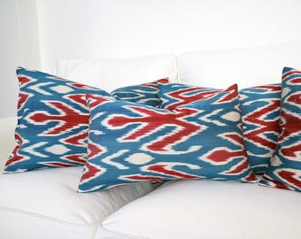 All Size Blue, Red, Ivory Silk Ikat Pillows - Handwoven Silk Organic Modern Lumbar Ikat Pillow Cover - Throw Pillow - Accent Pillow