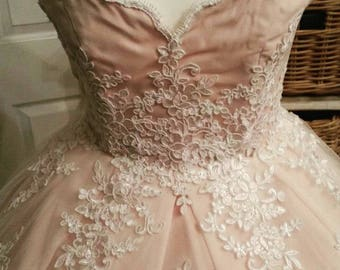 Custom Made Blush Pink and Lace vintage 1950s style  Wedding Dress