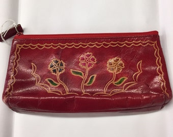 Red Leather Zip Pouch