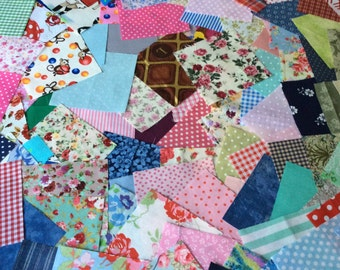 "100 Different Fabric Patchwork Squares -10 cms/4"" Cotton Quilting"