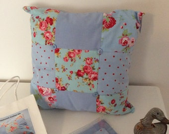 Handmade IKEA/Rosali 9 Patch Cushion  Sewing Kits. Cotton Blue Floral/blue dotty .Ideal for beginners.
