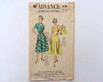 1950s B36 Dress and Short Sleeved Bolero Jacket Sewing Pattern : Advance A36