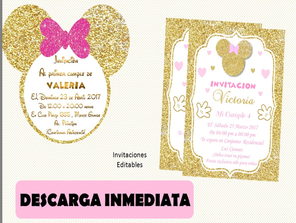 Invitacion Minnie Dorado Silueta Minnie