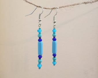 Shades of Blue Glass Drop Earrings